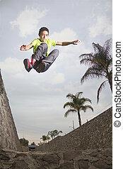 Front parkour jump