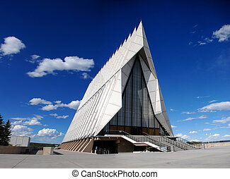 Front perspective view of the Air Force Academy Cadet Chapel in Colorado Springs, Colorado