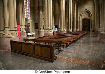 front pew in cathedral - inside public free access cathedral...