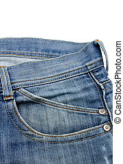 Front pocket with a seam on the blue jeans