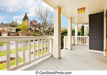 Front porch house exterior with spring street