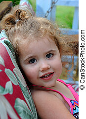 Front Porch Swing and Little Girl