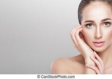 Front portrait of beautiful woman