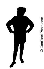 Front profile portrait silhouette of angry lady with hands on hips