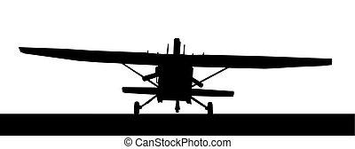 Front profile silhouette of landing X328 Atlas Angel Turbine...