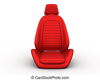 Front red car seat - Red car seat isolated on a white...