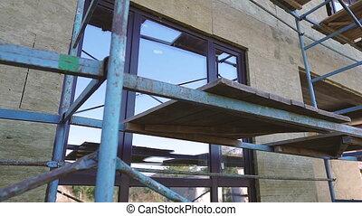front, rusztowanie, house., izolacja, scaffolding., praca