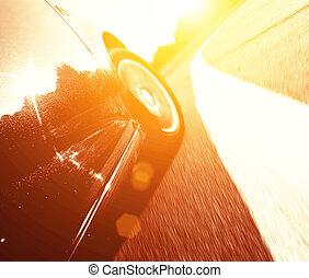 front, seitenansicht, von, geschwindigkeitsüberschreitung, auto