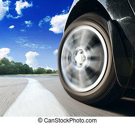 front, seitenansicht, von, schwarz, auto, fahren, fast.