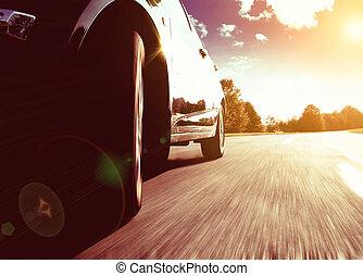 front, seitenansicht, von, schwarz, auto, treiben schnell