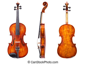 Front, side and back view of a violin. Isolated on white