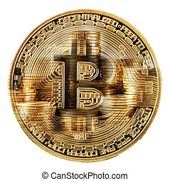 Front side of bitcoin on a background of stacks of coins
