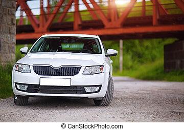 front-side, udsigter, i, en, automobilen