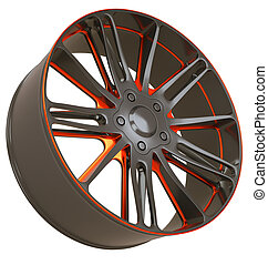 Front side view of Alloy wheel isolated