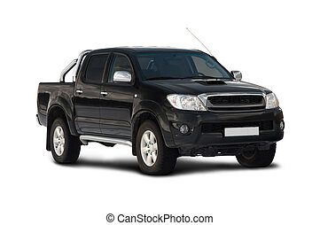 Front-side view of pick-up truck - Front-side view of black...