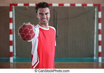 front, spieler, ziel, handball