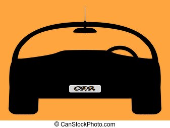 Front Sports Car Silhouette On Orange