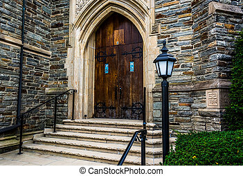 Front steps of a church in Hanover, Pennsylvania.