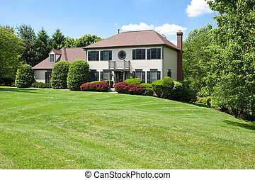 Front Suburban Single Family House Hillside French - Single ...
