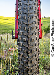front tire of a fat mountain bike