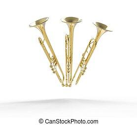 front, trompeten, drei, ansicht