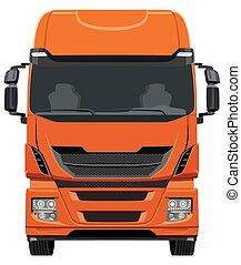 Front truck - Front orange truck on white background