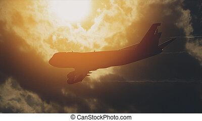 front, viele, himmelsgewölbe, verkehrsflugzeuge, sonne