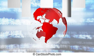 Front view animation of a red 3d turning globe with grey arrow in foreground