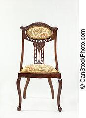 Front view antique Art Nouveau mahogany chair
