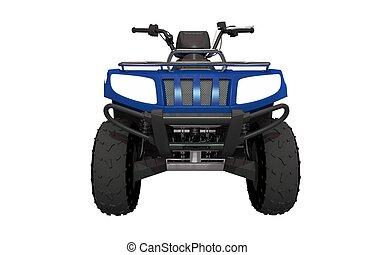 Front View ATV Quad Bike Illustration. ATV Isolated on White Solid Background.