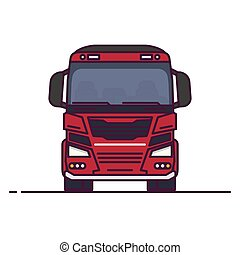 Front view big transportation truck