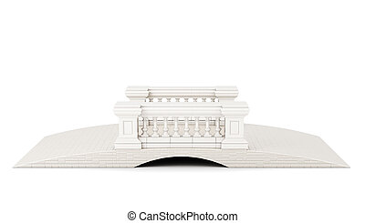 Front view bridge with a balustrade on white background. 3d rendering