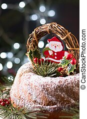front view christmas cake with santa decoration. High quality and resolution beautiful photo concept