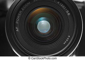 Front view closeup of camera lens