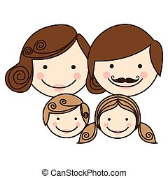 front view colorful silhouette cartoon family faces