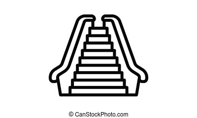 Front view escalator icon animation outline best object on white background