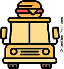 Front view food truck icon, outline style