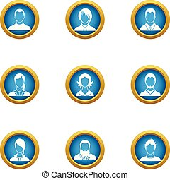 Front view icons set, flat style
