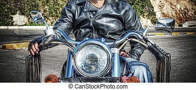front view of a biker in hdr