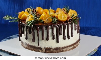 Front view of a biscuit cake. Pie with fruits and flowers....