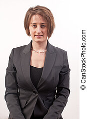 Front view of a business woman serious