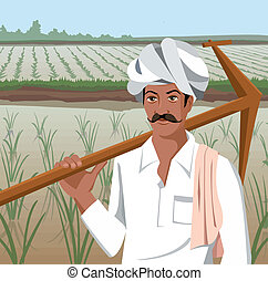 Front view of a farmer holding plow