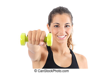 Front view of a happy fitness woman practicing aerobic isolated