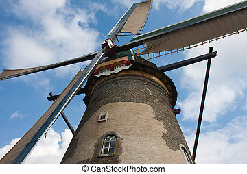 Front view of a historic Windmill in the Netherlands