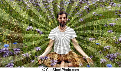 Front view of a man meditating