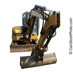 Front view of a mechanical digger