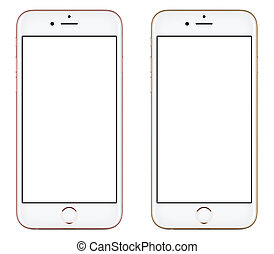 Directly front view of a modern pink and gold mobile smartphone like iPhone mockup with blank screen isolated on white background. High-quality studio shot.