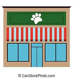 Front view of a pet shop