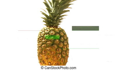 Front view of a pineapple turning on itself