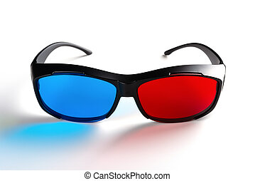 front view of a red and blue 3D glasses on white background